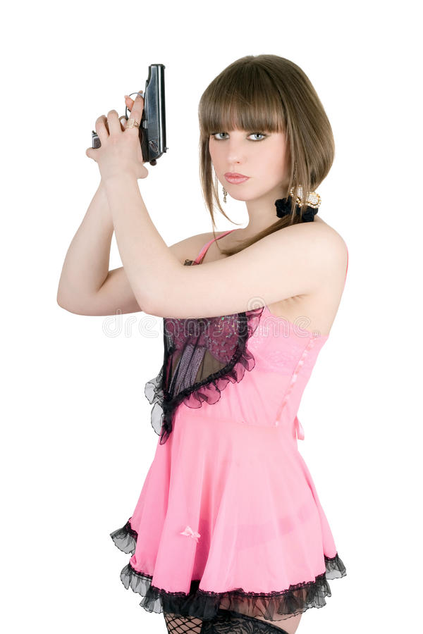 пинк девушки платья довольно стоковые фотографии rf