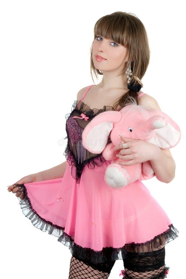 пинк девушки платья шаловливый стоковые изображения