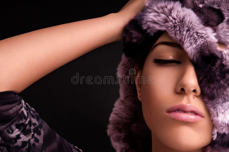 пинк девушки шерсти чувственный стоковое изображение rf