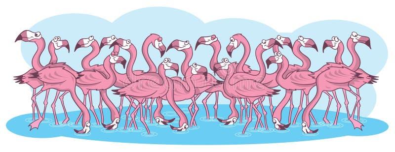 пинк иллюстрации фламингоов шаржа иллюстрация вектора
