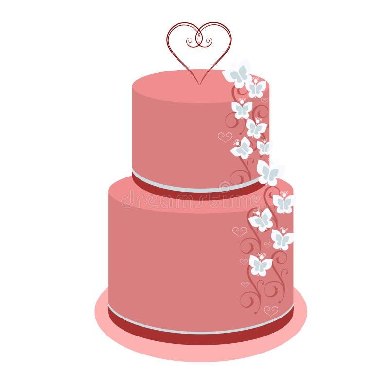 Пинк красивого торта свадьбы 3-расположенный ярусами с бабочками иллюстрация вектора