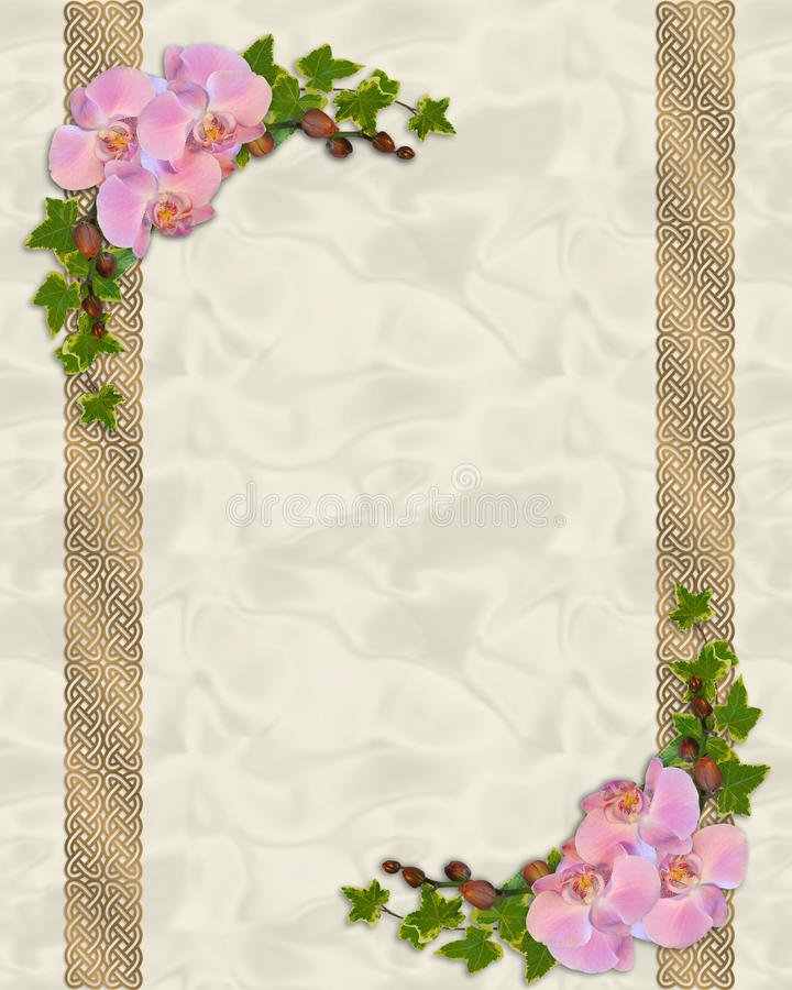 пинк орхидей плюща приглашения иллюстрация вектора