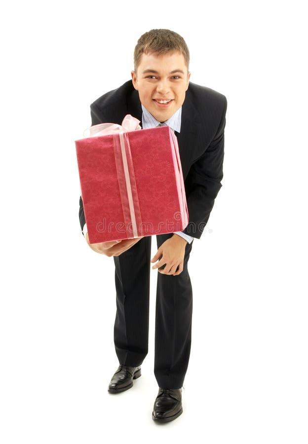 пинк подарка бизнесмена счастливый стоковые фото