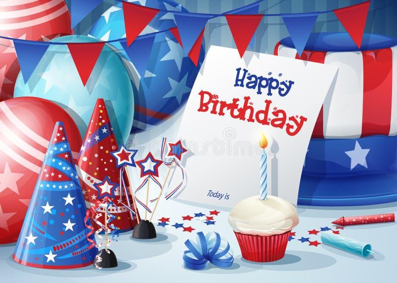 пинк приветствию девушки цвета поздравительой открытки ко дню рождения иллюстрация штока