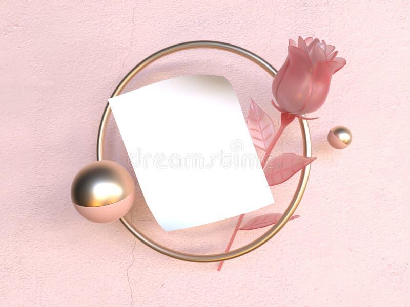 Пинк рамки бумажного золото золота белой бумаги Romance объекта левитации любов пустой поднял перевод концепции 3d Валентайн бесплатная иллюстрация