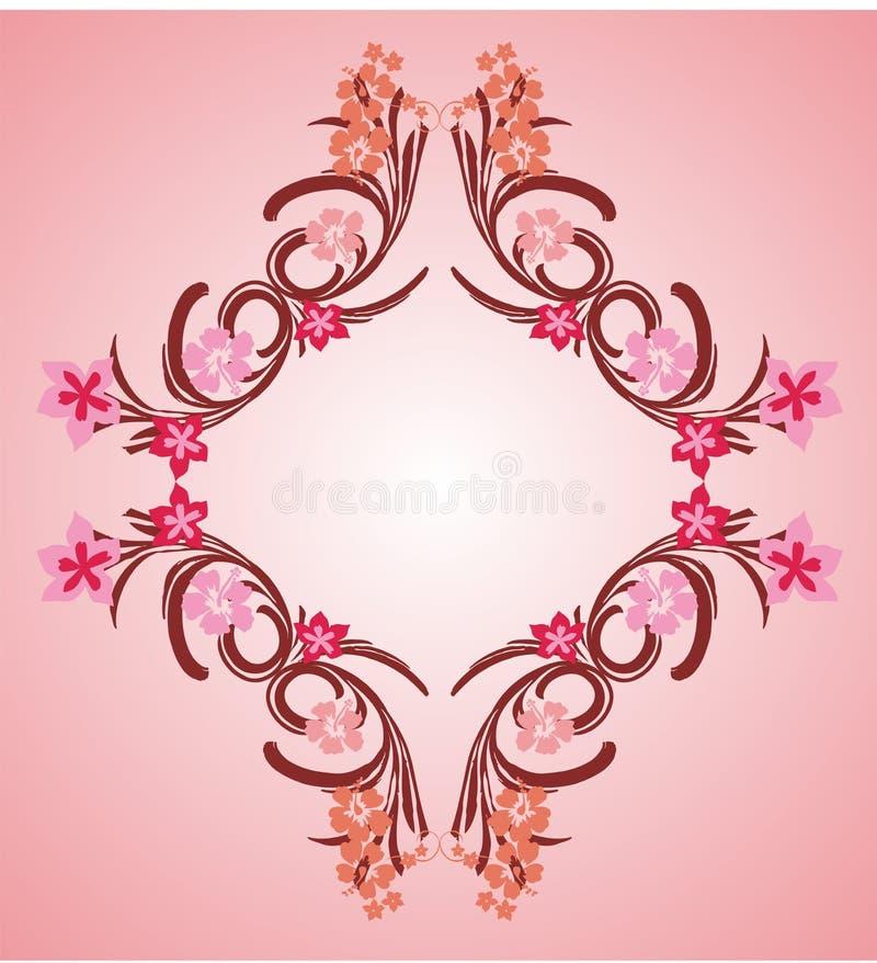 пинк рамки 04 цветков иллюстрация вектора