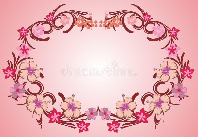 пинк рамки 07 цветков иллюстрация вектора
