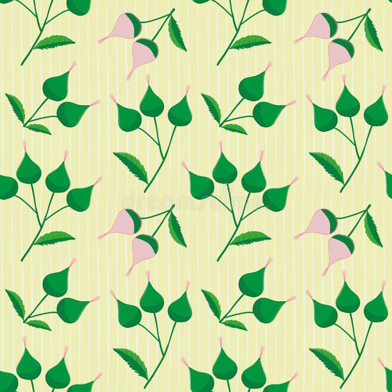 Пинк руки вычерченный и зеленые бутоны цветка на subtly striped светлом - желтая предпосылка Свежая безшовная картина вектора с иллюстрация штока