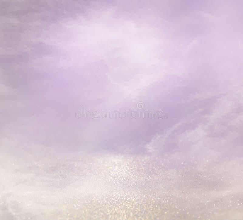 пинк, света света - фиолетовые и серебряные абстрактные bokeh стоковое фото rf