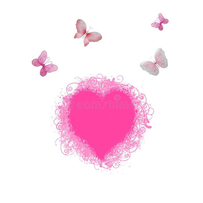 пинк сердца бабочек иллюстрация штока