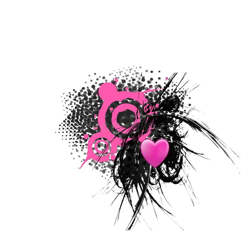 пинк сердца grunge предпосылки черный иллюстрация штока