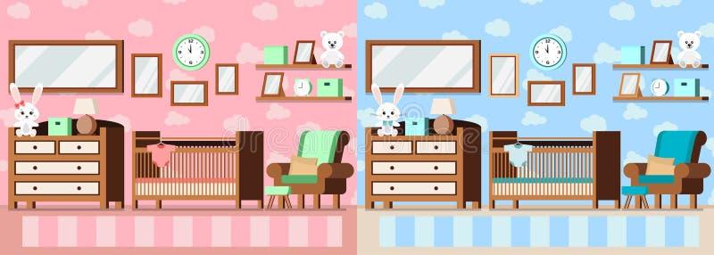Пинк установленной уютной комнаты младенца внутренний для девушки и сини для иллюстрации сцены вектора мальчика внутренней бесплатная иллюстрация