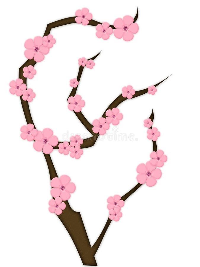 пинк цветков ветви коричневый иллюстрация вектора