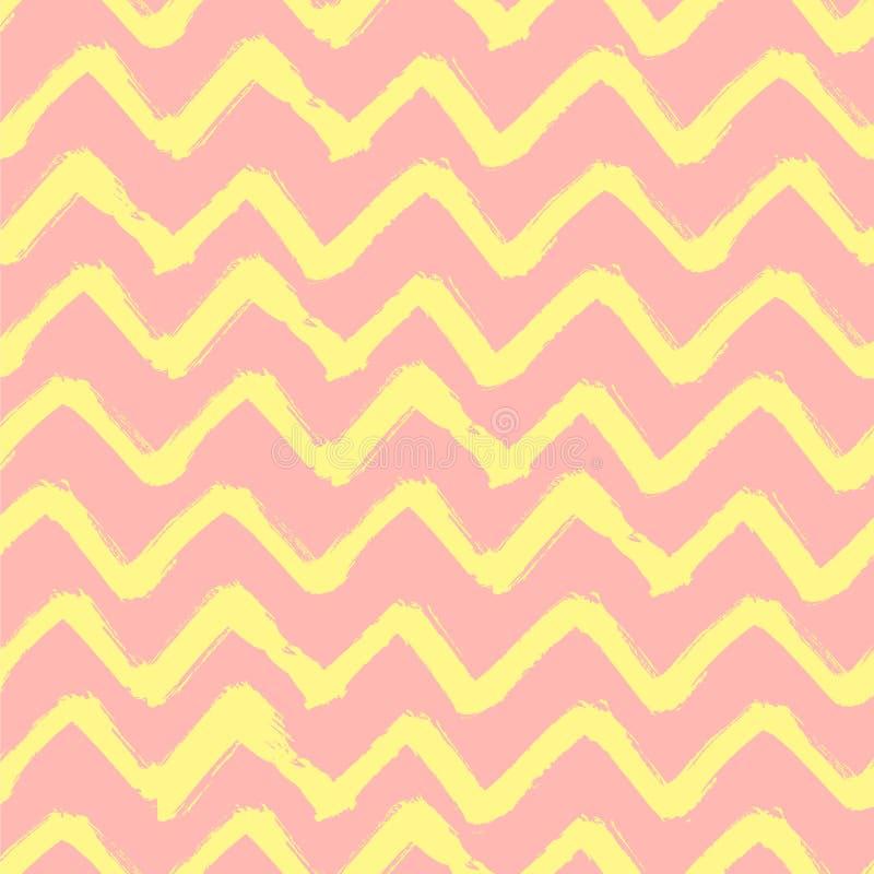 Пинк Grunge конспекта и желтая предпосылка Кисть зигзага Шеврона штрихует безшовную картину иллюстрация вектора