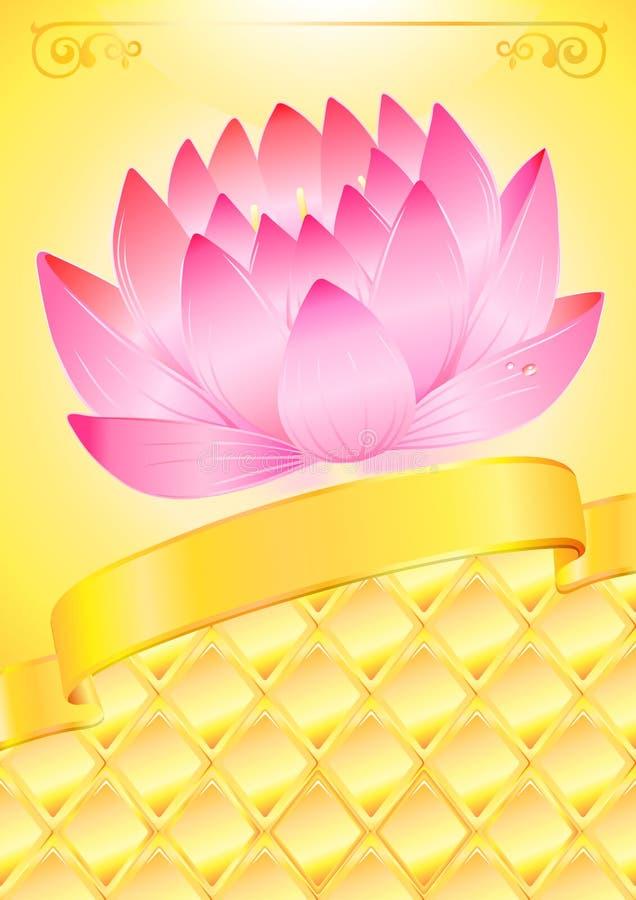 пинк lotos смычка предпосылки золотистый иллюстрация вектора