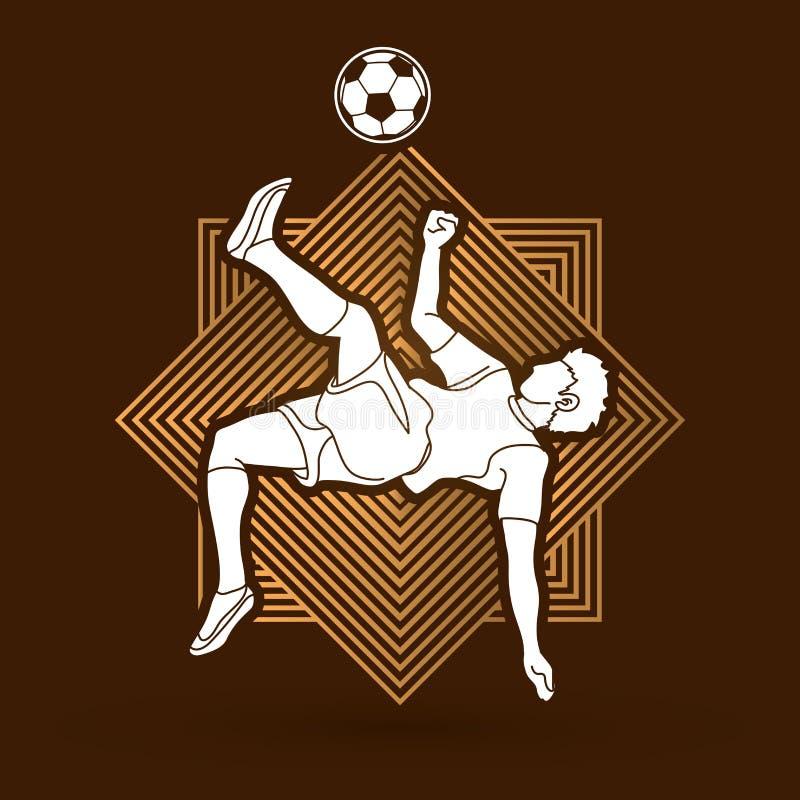 Пинок прыжка кувырком футболиста, вектор графика надземным пинком иллюстрация штока