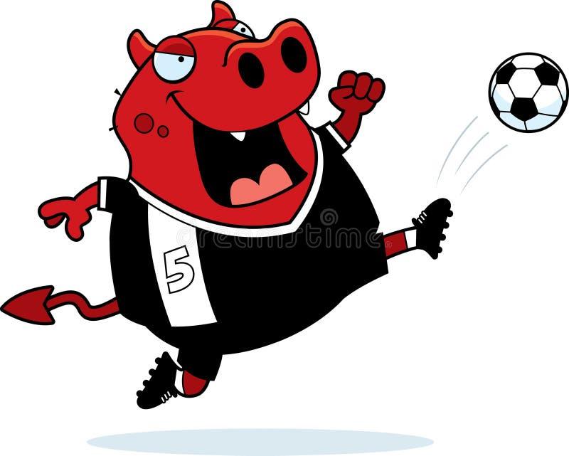 Пинок футбола дьявола шаржа иллюстрация штока