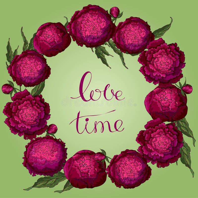 Пионы вектора Круглая рамка бургундских цветков Венок цветка на салатовой предпосылке Шаблон для дизайна цветка, ткань иллюстрация штока