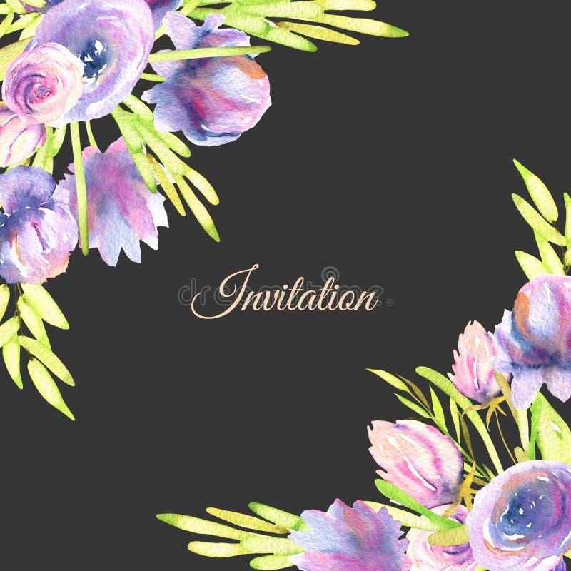 Пионы и розы акварели фиолетовые чешут шаблон, свадьба, приветствие, дизайн карточки приглашения иллюстрация вектора