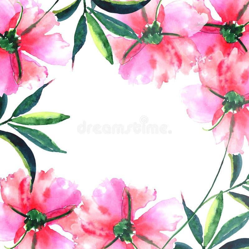 Пионы нежной нежной красивой яркой чудесной симпатичной милой весны флористические травяные с зеленым цветом покидают эскиз руки  бесплатная иллюстрация