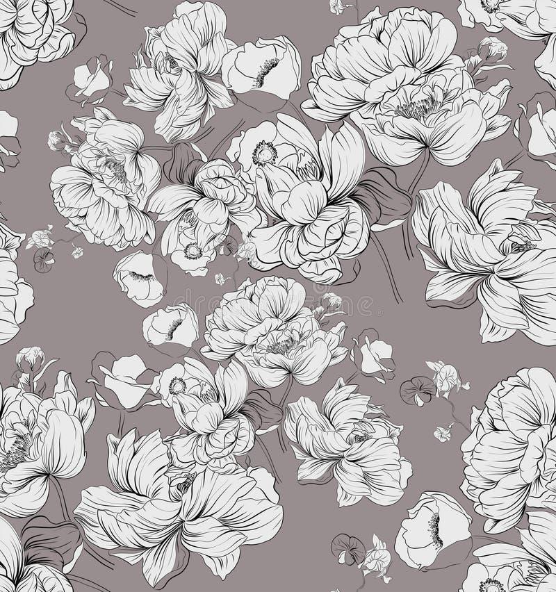 Пионы, орхидея ретро сбор винограда типа лилии иллюстрации красный стоковые изображения