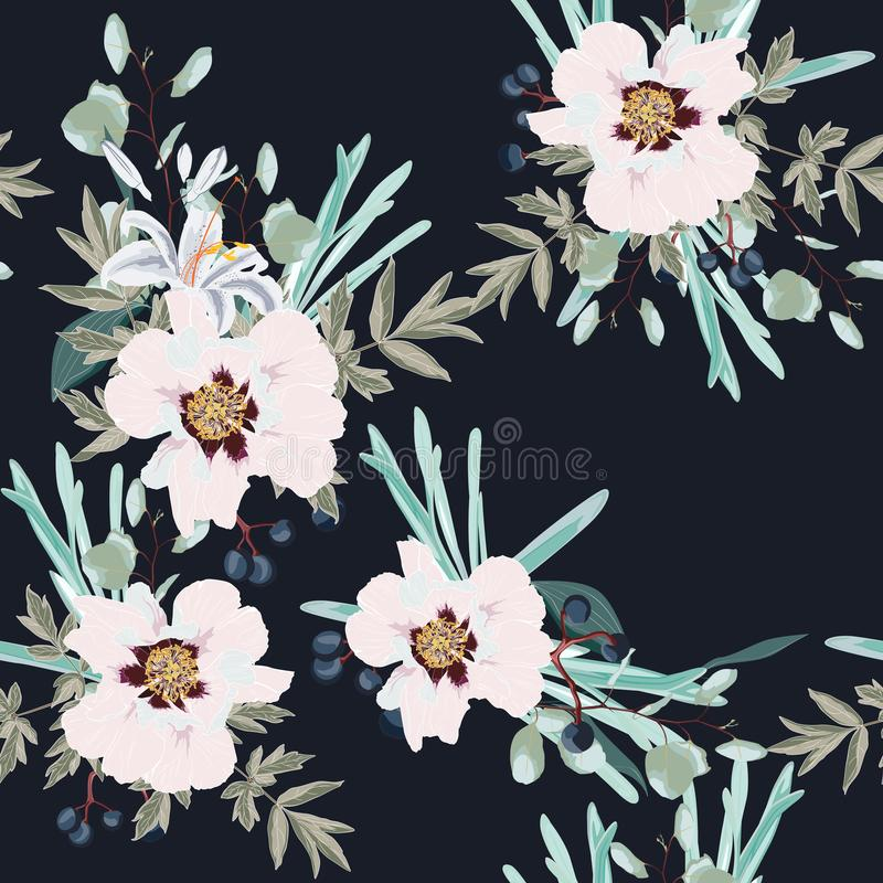 Пион пинка осени весны цветет с картиной трав и лилий безшовной Предпосылка стиля акварели флористическая для приглашения, бесплатная иллюстрация