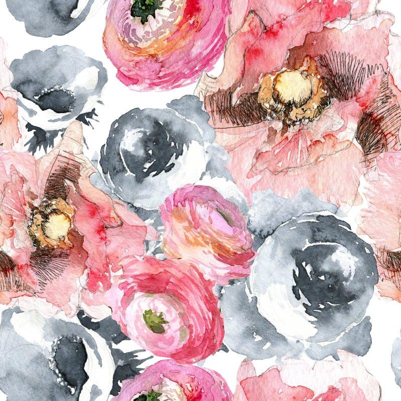 Пион с картиной мака и лютика безшовной, классическая флористическая предпосылка повторения для сети и печать Рука акварели бесплатная иллюстрация