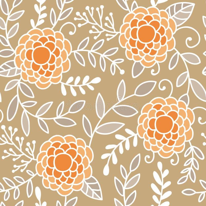 Пион Doodle цветет картина вектора безшовная Беж, апельсин и белизна вручают вычерченную флористическую предпосылку бесплатная иллюстрация