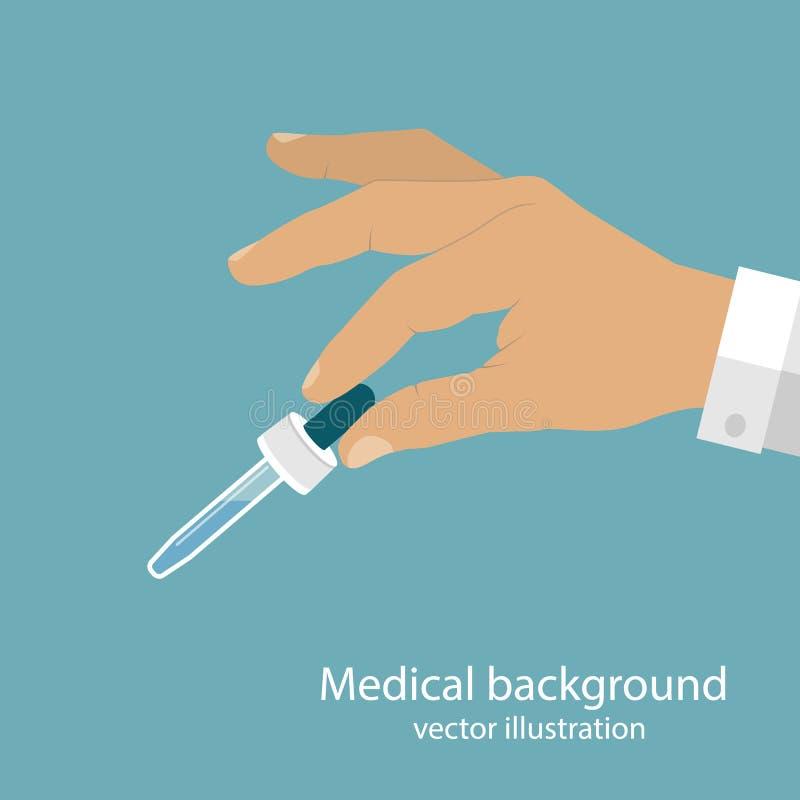 Пипетка в докторе рук иллюстрация штока