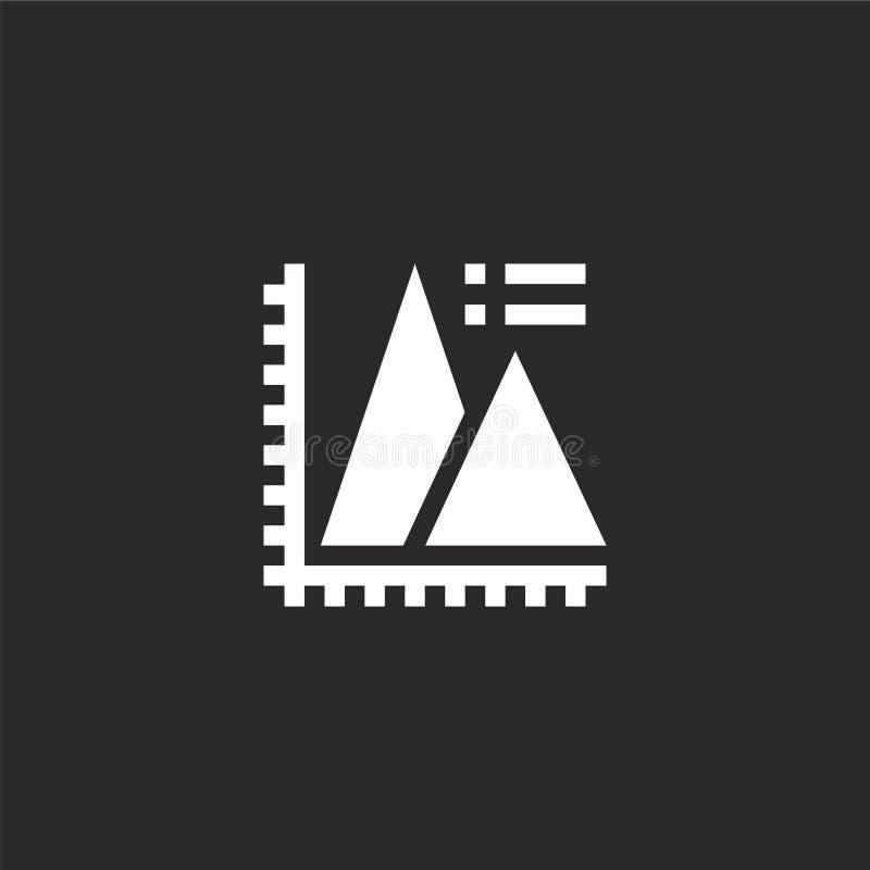 пирамидальный значок диаграммы. Заполненный пирамидный значок диаграРиллюстрация вектора