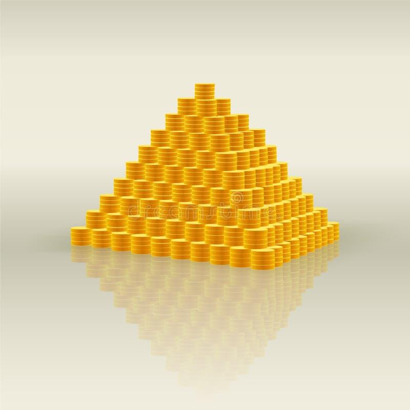 Пирамида золотых монет - символ богатства и много денег, финансовой пирамиды и очковтирательства иллюстрация штока