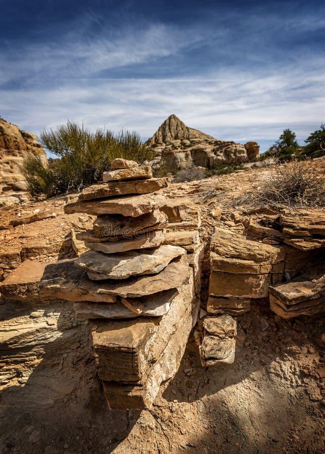 Пирамида из камней утеса, пирамида Pectols, национальный парк рифа капитолия стоковая фотография
