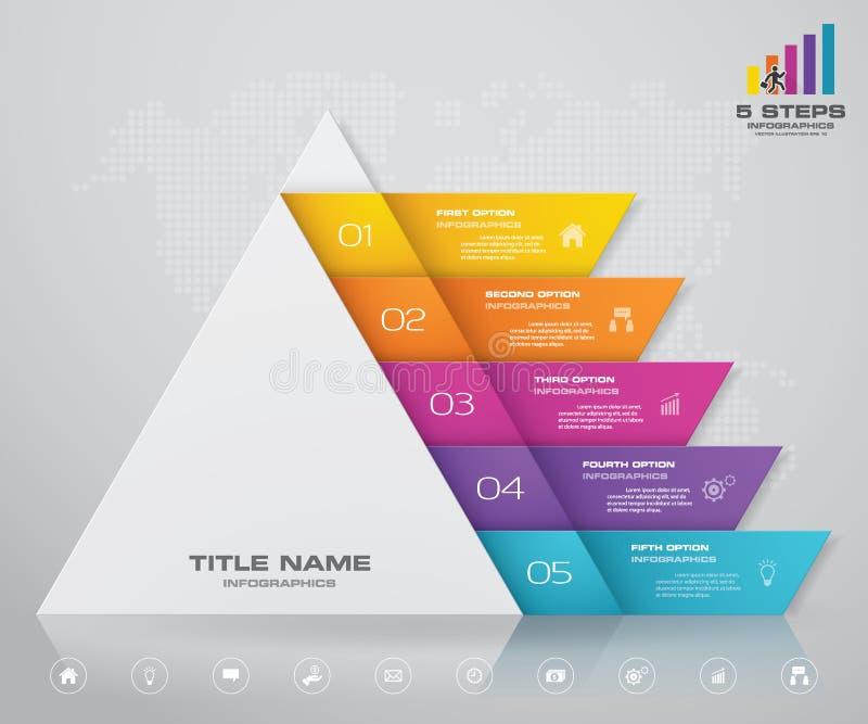 пирамида 5 шагов с открытым космосом для текста на каждом уровне infographics, представления или реклама иллюстрация штока