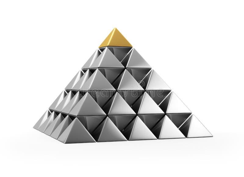 Пирамидка глянцеватых серебряных малых пирамидок иллюстрация вектора