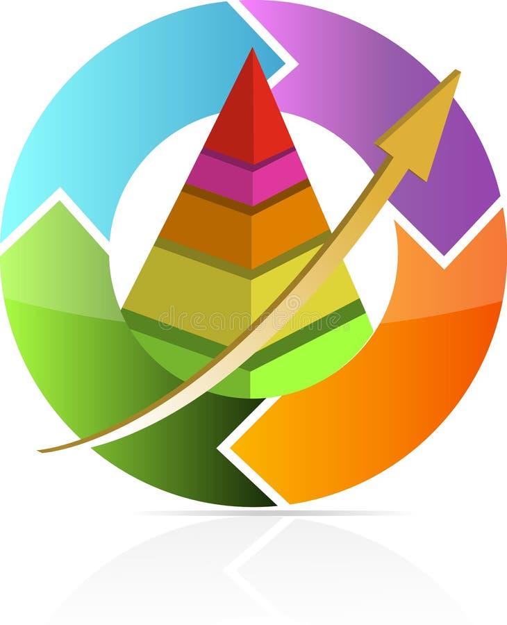пирамидка движения диаграммы дела непрерывная иллюстрация вектора