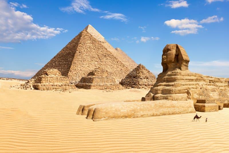 Пирамиды Гизы и сфинкса, Египта стоковые фотографии rf