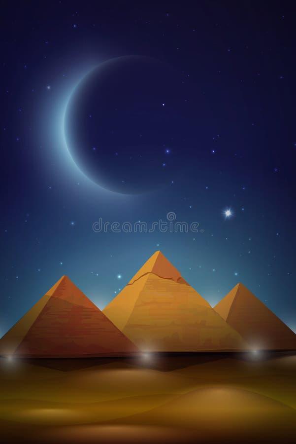Пирамиды Египта в обоях лунного света иллюстрация вектора