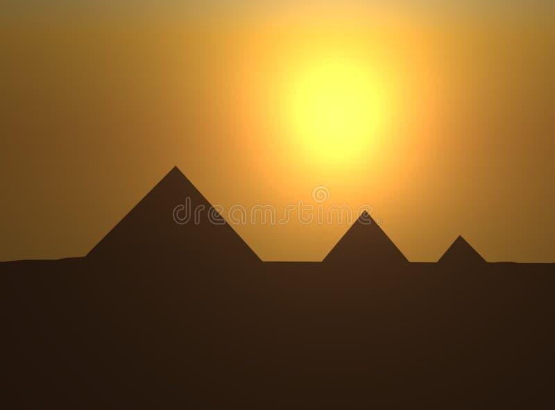 Пирамиды на заходе солнца иллюстрация штока