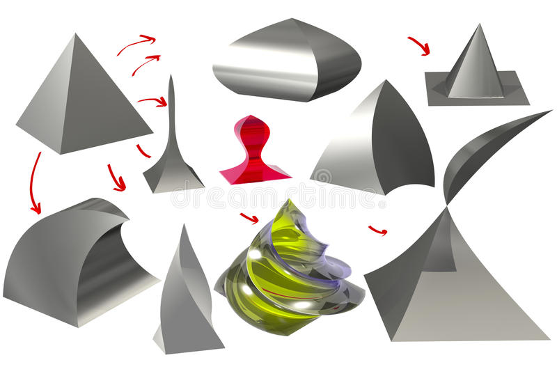 пирамида и диаграммы полученные от ее 3D иллюстрация вектора