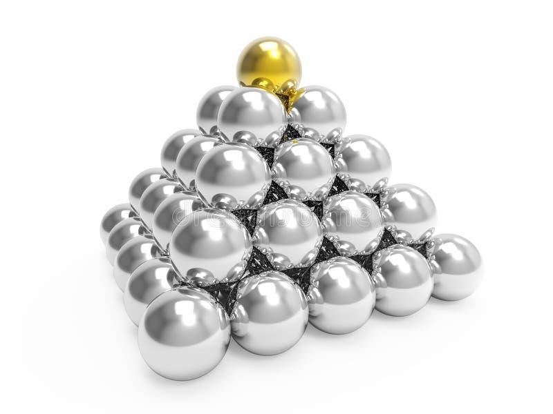 пирамида серебра 3d с верхней частью золота бесплатная иллюстрация