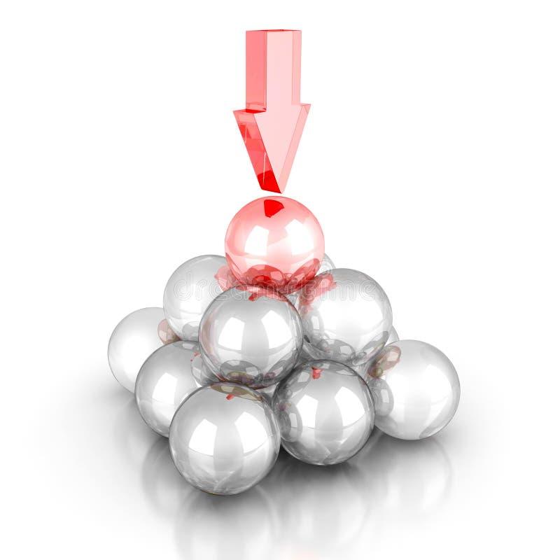 Пирамида стеклянных шариков с различными верхней частью и стрелкой Крышка успеха иллюстрация штока