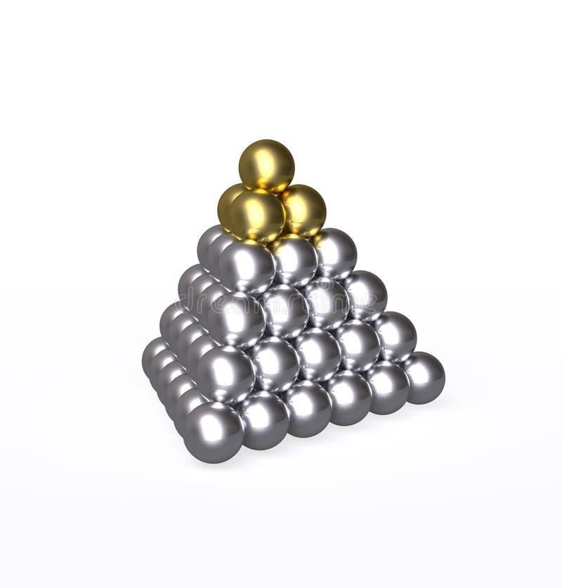 Пирамида с шариками золота и серебра иллюстрация вектора