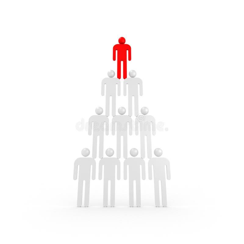 Пирамидка белых людей конспекта 3d иллюстрация штока