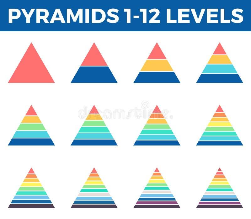 Пирамиды, треугольники с 1 до 12 шагами, уровнями стоковые изображения