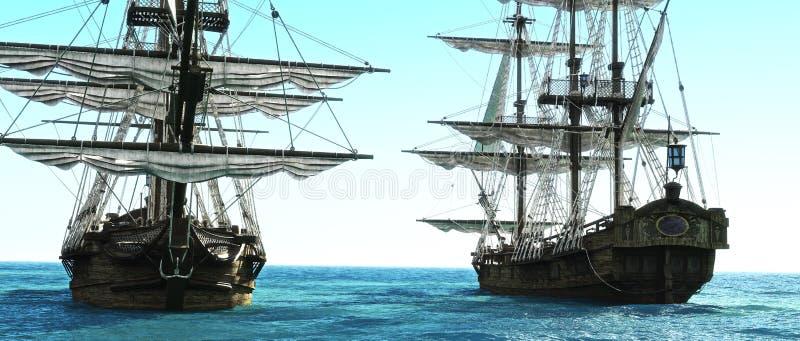Пиратские корабли расположенные близко к одину другого вне к морю иллюстрация штока