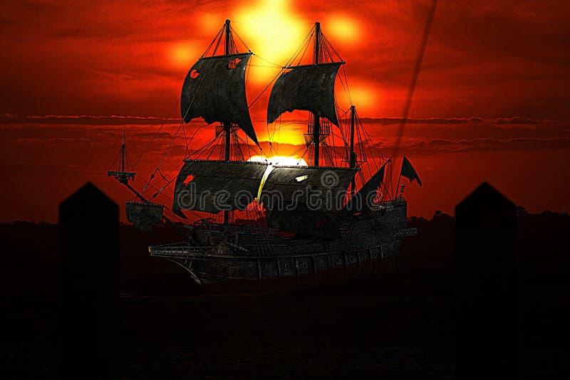 Пиратский корабль кладет на анкер в мистическом карибском гаван-городке стоковое изображение rf