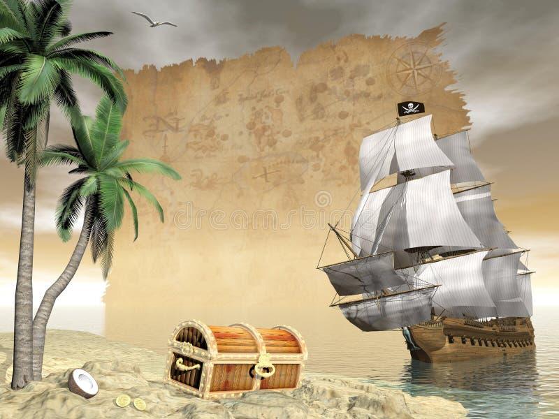 Пиратский корабль находя сокровище - 3D представляют иллюстрация вектора