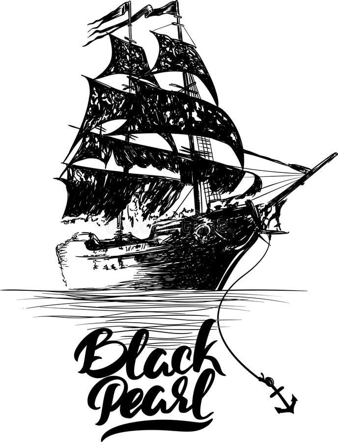 Пиратский корабль - рука нарисованная иллюстрация вектора, черная литерность жемчуга стоковые изображения