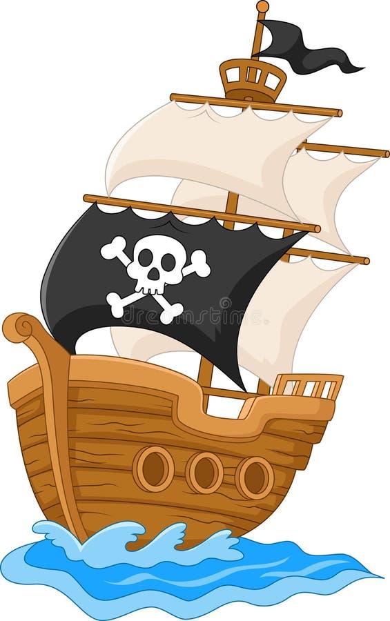 Пиратский корабль шаржа иллюстрация вектора