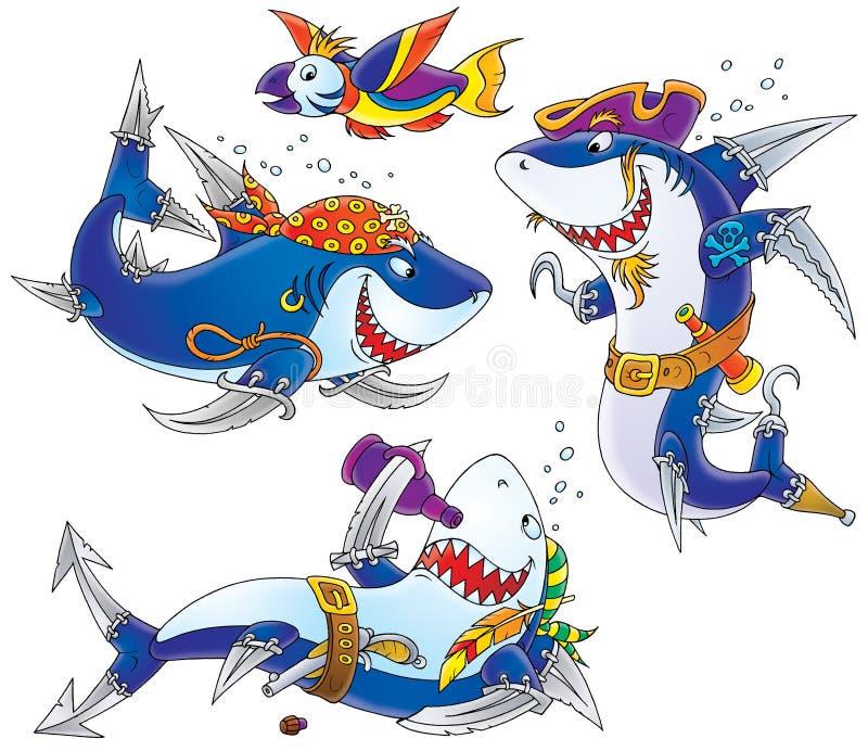 пиратствует акул иллюстрация штока